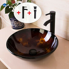 Bathroom Glass Vessel Sink Round Bowl Oil Rubbed Bronze Faucet Pop Up Drain