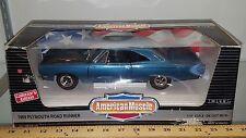 1/18 ERTL AMERICAN MUSCLE 1969 PLYMOUTH ROAD RUNNER JAMAICA BLUE W/BLACK HOOD bd