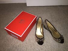 New Coach Brown Signature and Patent Wedges NIB Sz 10