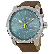 Diesel Double Down Chronograph Blue Dial Brown Leather Mens Watch  DZ4330
