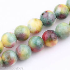 Precious Green & Yellow Gemstone Round Loose Jade Beads 10 mm-15 Beads Lots