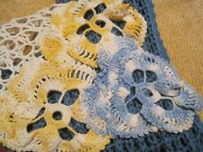 Upcycled Women's Scarf Blue Yellow & White with Vintage Crochet Pansy Flower ECO