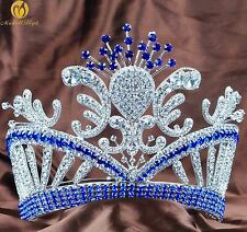 Floral Blue Tiara Crown Rhinestone Crystal Large Headpiece Wedding Pageant Party