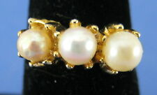 Fashion Cocktail Ring Pearl Trio Adjustable Band Size 7