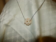 Sets - Pendant & Earrings - Shell Pearl Cluster & Clear Crystals G/F Chain 38cm
