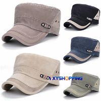 Men Women Baseball Cap Adjustable Retro Army Hat Cadet Military Sport Flat Cap