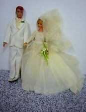 Barbie vintage bride's dress wedding bridal gown veil Ken white Tuxedo Flowers