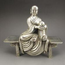 Vintage Chinese pure silver finely Buddhism bench Buddha Sculpture Statue