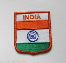 INDIA INDIAN SHIELD EMBROIDERED WORLD FLAG EMBLEM PATCH 3 INCHES