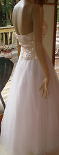SALE LOVELY CACHE CINDERELLA PALE PINK SEQUIN BODICE S/2 HALTER GOWN