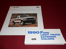 1990 FORD RANGER PICKUP TRUCK, BIG 24-p. CATALOG + PAINT COLOR CHIPS BROCHURE