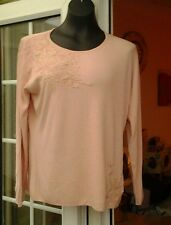 BNWT - DIVA CORAL LONG SLEEVE FLORAL BEADED TRIM TOP  - SIZE XL
