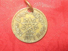 18MM WICCAN VINTAGE GOLD TONE MOROCCO PENTAGRAM STAR BRASS COIN PENDAN NECKLACE