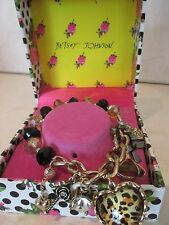 BETSEY JOHNSON LEOPARD HEART HALF STRETCH BRACELET BOXED