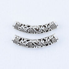 New 2pcs Tibetan Silver Hollow Bend Tube Charm Spacer Beads Jewelry 49x9mm