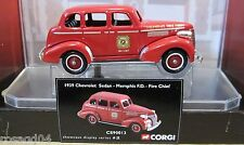 Corgi Fire Heroes Memphis Fire Department 1939 Chevy Sedan Chief Car + Display