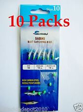10 packs size #10 sabiki bait rigs 6 hooks offshore saltwater lure - 467