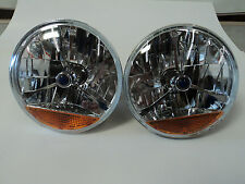"7"" Clear Blue Dot Tri Bar Headlights Amber Turn Signal H4 Bulb Chevy Ford Mopar"