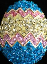 PINK TEAL YELLOW RHINESTONE BUNNY SPRING DUCK CHICK EASTER EGG PIN BROOCH JEWELR