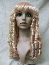 Rebel Toons Blonde & Pink Little Bo Peep Wig Long Ringlets Princess Goldilocks