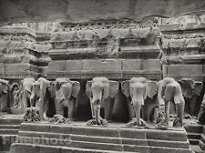 1928 Original INDIA Ellora Kailasa Temple Pedestal Elephants Photo By HURLIMANN