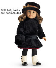 NEW AMERICAN GIRL REBECCA'S WINTER COAT FOR DOLL ~BLACK JACKET FAUX FUR MUFF NIB