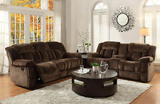 ARLES - Brown Microfiber Recliner Sofa Couch Loveseat Set Living Room Furniture