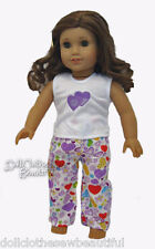 """Purple Heart Pajamas for 18"""" American Girl Doll Clothes"""