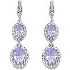 PURE ELEGANCE! DANGLE LAVENDER & CZ .925 Sterling Silver Earrings