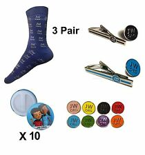 JW.org Package! Tie Clips, Lapel Pins, Socks, Caleb and Sophia Buttons