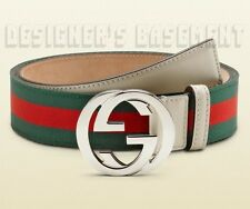 GUCCI green/red stripe 36 Ribbon & Leather Interlocking G buckle belt NWT Authen