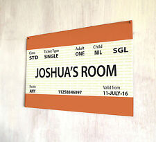 Personalised Train Ticket room sign A4 metal plaque