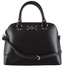 New Kate Spade Black Leather Small Rachelle Convertible Dome Satchel Purse