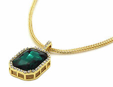 """Men 14k Gold Plated Iced Out Green Cz Octagon Pendant Hip-Hop 24"""" Franco Chain"""