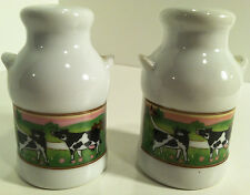 VINTAGE MILK JUG BOTTLE WITH COW GRAPHICS  SALT & PEPPER SHAKERS