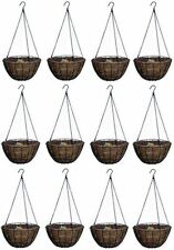 """BOX OF 12 = PANACEA 14"""" Round Green Growers Hanging Basket Coco Liner Chain Hook"""