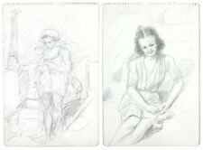 Vintage French Drawings, Women at the Beach, Mother, Baby and Child, 1950's