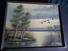 listed artist HANS van HOEK original signed framed oil painting geese water B394