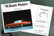 1974 BUICK RIVIERA Brochure / Catalog: 455, Stage 1 / One