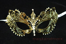 laser cut Venetian Butterfly Masquerade wedding Rhinestones Party ball Mask Gold