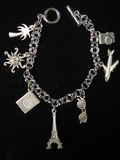 """JJ"" Jonette Jewelry Silver Pewter 'TRAVEL Symbols' 7"" Bracelet"