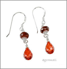 925 Silver Dangle Drop Earrings w/CZ Orange Red #65402