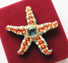 Dazzling VINTAGE KENNETH JAY LANE Turquoise Coral Cabochon Pearl Starfish Brooch