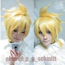 Anime Vocaloid Kagamine The Lost Memory Len light golden Cosplay Wig + Free Cap