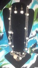 SIMPLY VERA WANG NWT $52 long necklace and earrings women's set pearl champagne