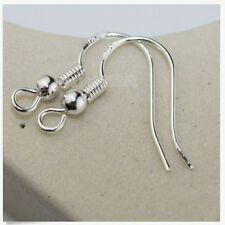 100PCS 925 Sterling Silver Earrings Hook Coil Ear Wires DIY Jewelry Findings gt