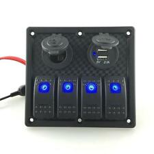4 Gang 12V-24V Dual USB Waterproof Car Marine Blue LED Switch Panel Power Socket