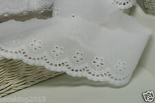 "3Yds Broderie Anglaise Eyelet cotton lace trim 2.8"" white YH737 laceking2013"