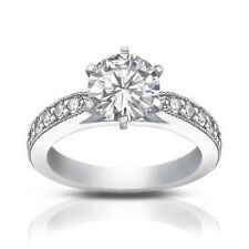 1.40 ct Round Cut Diamond Engagement Ring Whit Millgrain on The Shank