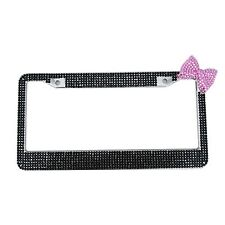Bling Rhinestones Stainless Steel Black License Plate Frame  Pink Bow Car  Part
